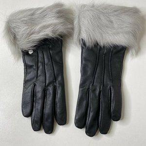 UGG Australia Smart Tech Leather Fur Trim Gloves